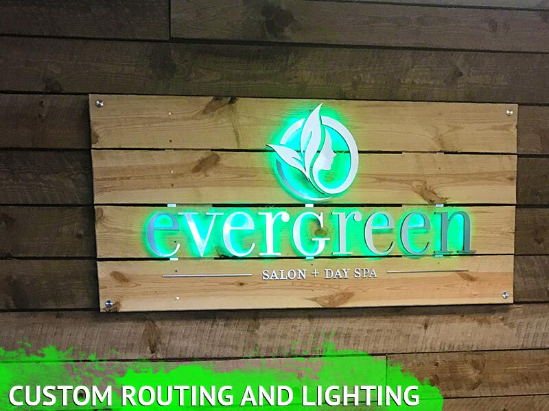 Router cut letters on led backlit custom sign