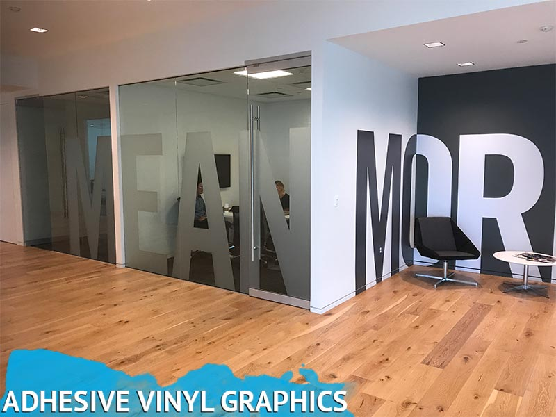 Frosted Vinyl window graphics and custom printed wall wrap