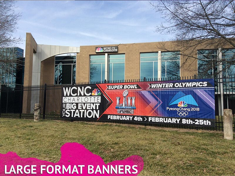 Large printed mesh fence banner